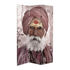 6' Tall Double Sided Hindu Sadhu Canvas Room Divider