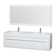 Wyndham Collection   Axa Wall Mounted Double Bathroom Vanity, Glossy White,  72 Inch