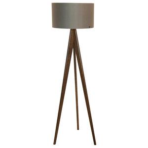 Tripod Floor Lamp, Walnut and Grey
