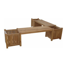 Anderson Teak - Planter Double Bench With 3 Planter Boxes - Outdoor Benches