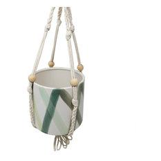 "Sagebrook Home White/Green Hanging Planter 5.5"""