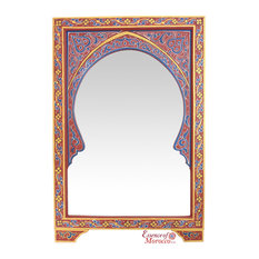 Moroccan Mirror Arabesque Wood Burgundy Gold Handmade Limited Edition