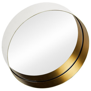 Round Brass Wall Mirror, White and Gold, 50 cm