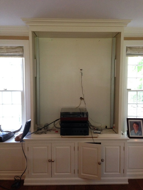 what to do with my built in media cabinet. Black Bedroom Furniture Sets. Home Design Ideas