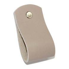 Handcrafted in USA, Gray Leather Loop Drawer Pull, Hardware: Nickle
