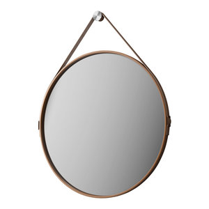 George 24in. Mirror, Whisky Leather
