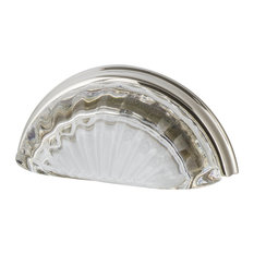 """Cup Pull Crystal Clear Fluted 3"""" on Center in Polished Nickel"""
