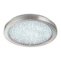 1x19W LED Ceiling Light, Matte Nickel Finish, White Glass, Clear Crystals