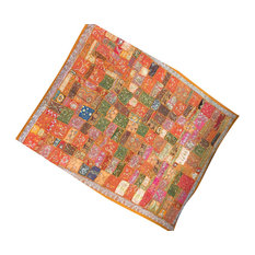 Mogul Interior - Orange Beaded Wall Hanging Throw Vintage Tapestry - Tapestries