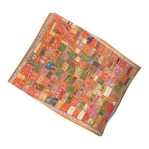 Mogul Interior - Orange Beaded Wall Hanging Throw Vintage Tapestry - Tapestries
