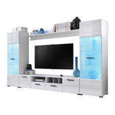Perfect Meble Furniture U0026 Rugs   Modern Entertainment Center Wall Unit With 15  Colors LED Lights 65