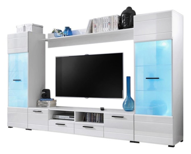 Modern Entertainment Center Wall Unit With 15 Colors LED Lights 65