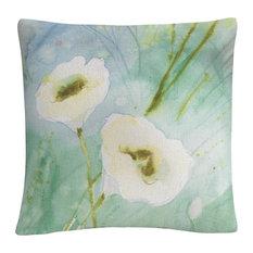 Quiet Pond' White Soft Floral Motif Decorative Throw Pillow