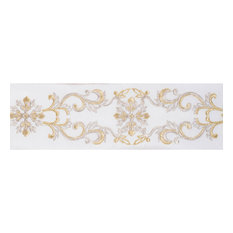 "4""x5 yd. Ivory Snowflake Scroll Dupion Wired Ribbon"