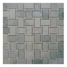 Ming Green Marble Basketweave With White Dot Polished On 12x12 Sheet, 5 Sheets