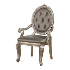 Faux Leather Upholstered Wooden Arm Chair With Carved Details Gray And Gold Se