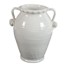 Glazed Ceramic White Vase With Handle, 12""