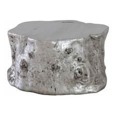 35-inchL Cocktail Table Log Resin Sculpture Silver Leaf Finish