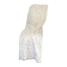 Mina Victory Fur Circle Sequin Ivory Throw Blanket