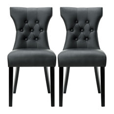 Belleze - Modern Leather Tufted Back Elegant Dining Chair Nailhead Set of 2  sc 1 st  Houzz & 50 Most Popular Leather Dining Room Chairs for 2018 | Houzz