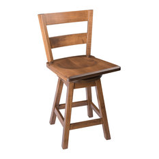 """Swivel Bar Stool, Maple Wood With Straight Back, Cappuccino, Counter Height, 24"""""""