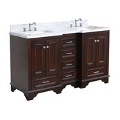 "Nantucket 60"" Bath Vanity, Base: Chocolate, Top: Carrara Marble, Double Vanity"