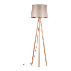 Scandinavian Floor Lamp: Lamps buyer - Tripod Wooden Floor Lamp With Brown Shade - Floor Lamps,Lighting