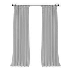 "Signature Porcelain White Blackout Velvet Curtain Single Panel, 50""x120"""