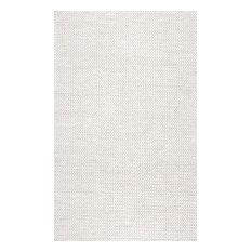 Nuloom Handmade Braided Cable Off White New Zealand Wool Rug 8 X10