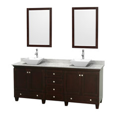 "80"" Acclaim Double Vanity, White Carrera Marble Top, Pyra White Porcelain Sink"