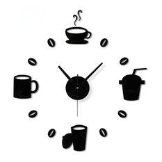 14-inch Simple Design, Coffee Time, DIY Wall Clock,Black
