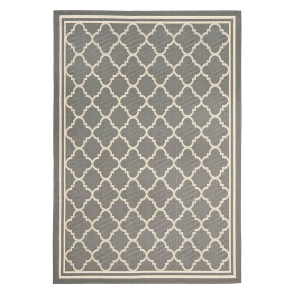 Rectangular Area Rug, Beige and Anthracite