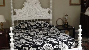 Dark wood bed