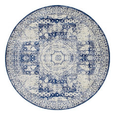 Traditional Vienna 8' Round Creme and Blue Area Rug