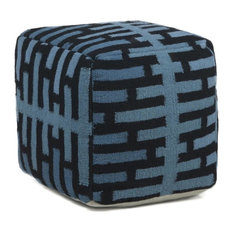 Hand-Knitted Contemporary Wool Pouf 1'5x1'5x1'5 Blue/Black