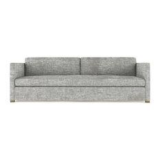Madison 6' Crushed Velvet Sofa Silver Streak Extra Deep