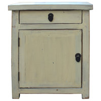 Chinese Oriental Distressed Cream Off White End Table Nightstand Hcs4543