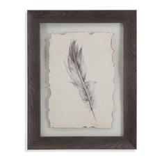 """""""Feather Sketch IV"""" Framed Under Glass Artwork"""