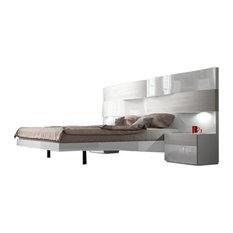 Cordoba 3-Piece Modern Bedroom Set, White High Gloss, Queen