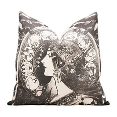 Art Nouveau Zodiac Throw Pillow, Black