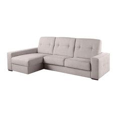 Glasgow Left Chaise Longue Sofa Bed, Nacre