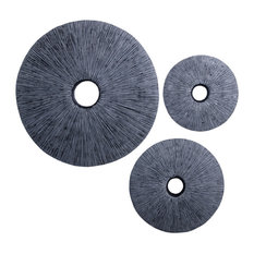 """20"""" X 2.2"""" Gray Sandstone Ribbed Round Middle Hole Wall decor"""