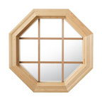 Cabin Light 4 Season Wood Window With Grille, Clear Insulated Glass