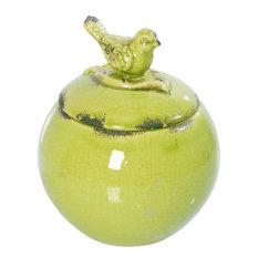 Bird Lidded Ceramic Jar Green