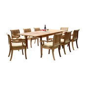 "9-Piece Teak Dining Set, 94"" Extension Rectangle Table, 8 Giva Arm Chairs"