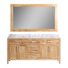 Design Element London 72 Double Sink Vanity Set Honey Oak Bathroom Vanities