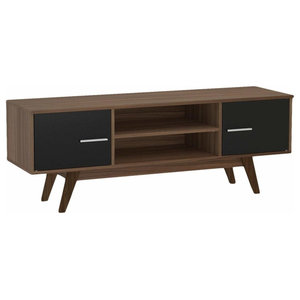 Contemporary TV Unit, Walnut-Black Finished Solid Wood With Door and Open Case