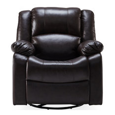 Faux Leather Rocker Swivel Glider Chair Brown