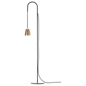 Chaplin Floor Lamp, Matt Black and Polished Brass