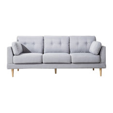 Divano Roma Furniture - Linen Fabric Sofa, Light Gray - Sofas